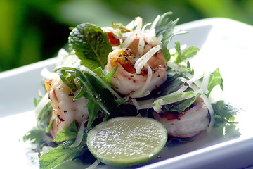 Medium gilled peppered prawn and green papaya salad with basil green chilli and lime