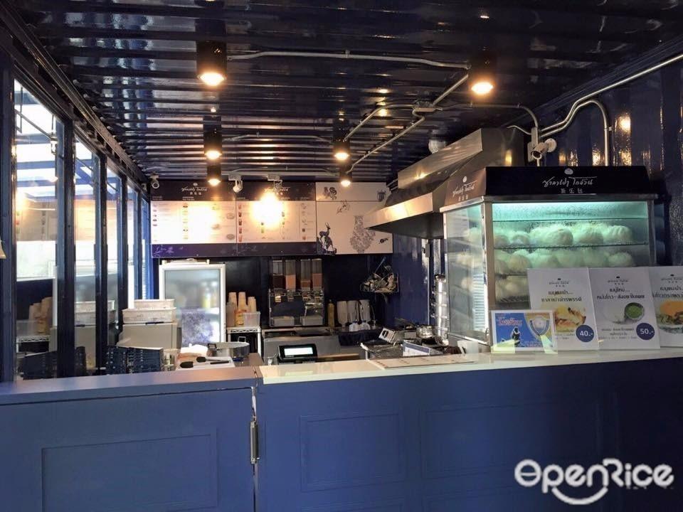 ตกแต่งร้านอาหารซาละเปาโกอ้วน สีลมซอย 3 ซอยละลายทรัพย์ by MODI-RENO CO.,LTD - สีฟ้า ลอฟท์ ผสมผสาน กระเบื้อง เหล็ก กระจก ทั้งหลัง ชุดห้องครัวสำเร็จรูป ชุดตู้เก็บของ Before & After - Helpdee.com
