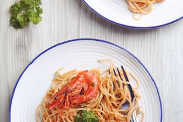 Medium food photography pasta spaghetti shrimp