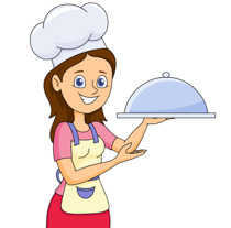 Tn lady with a covered food tray clipart 5122